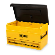 A yellow Van Vault 3 high security storage box, designed to prevent tool theft.  S10345