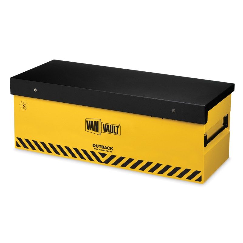 A yellow Van Vault Outback secure storage box, perfect for open backed-vehicles to protect tools and equipment. S10260