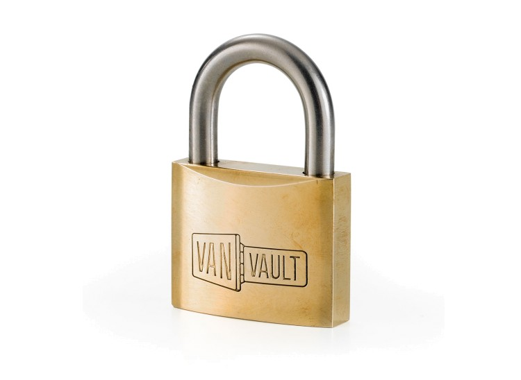 A Van Vault Brass Padlock with stainless steel shackle. S10082