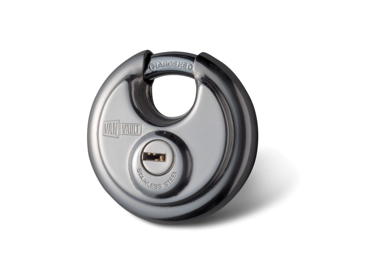 Image of a 70mm Disk Lock, for use with Van Vault security boxes and as a padlock. The SKU code is S10064.