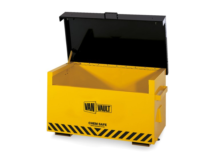 A yellow Van Vault Chem Safe secure box, made specifically for storing hazardous chemicals. S10022