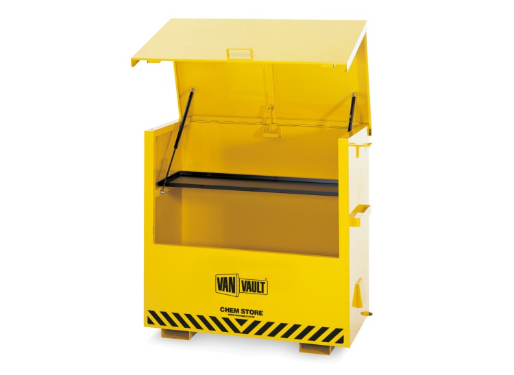 A yellow Van Vault Chem Store secure box, made specifically for storing hazardous chemicals. S10069