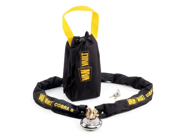 A Van Vault Cobra 8 hardened steel security chain. Comes with 70mm disc lock to protect large items. S10120