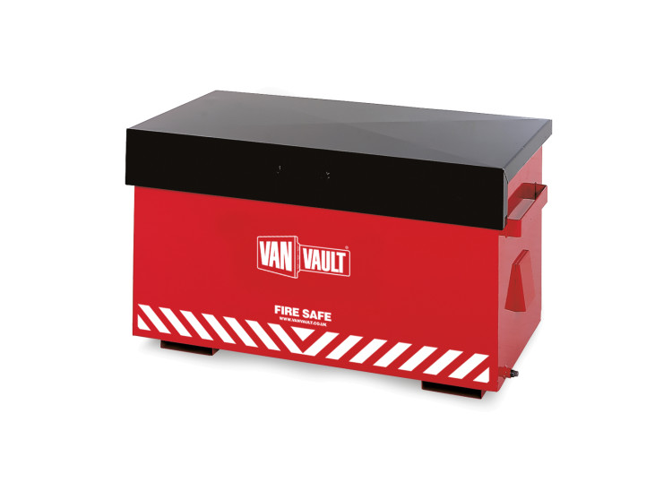A red Van Vault Fire Safe with a black lid. Made for the storage of flammable liquids. S10020
