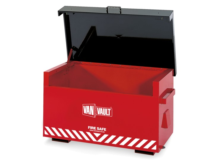 A red Van Vault Fire Safe, purposely built for the secure on-site storage of flammable liquids. S10020