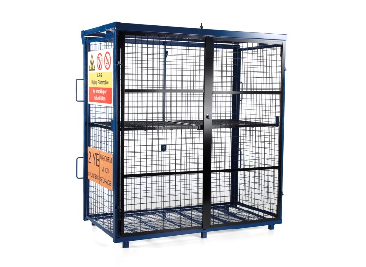 A Van Vault Fold-away Gas Cage, which is a secure solution for storing hazardous cylinders. S10360
