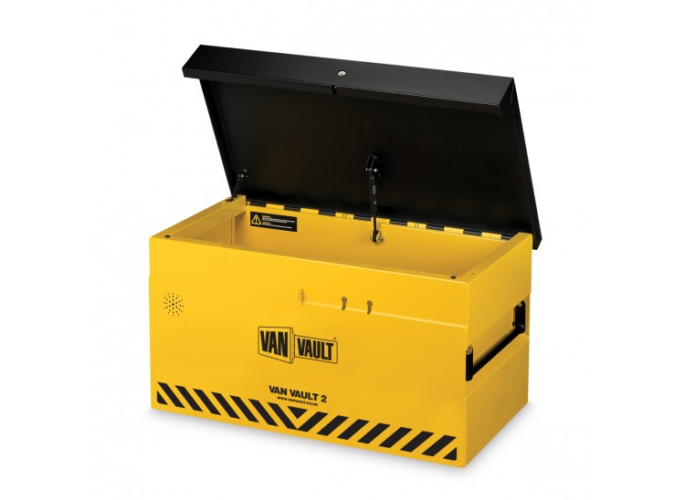 A yellow Van Vault 2 secure storage box for tool and equipment protection. S10250