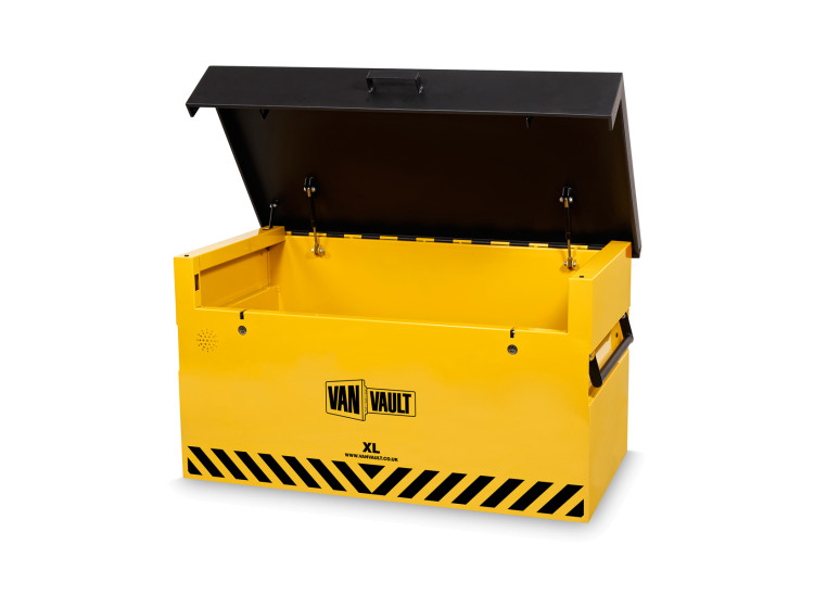 A yellow Van Vault XL high security box, ideal for keeping your tools safe. S10348